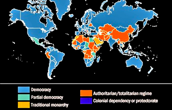 Democracies of The World Map Map of World Governments