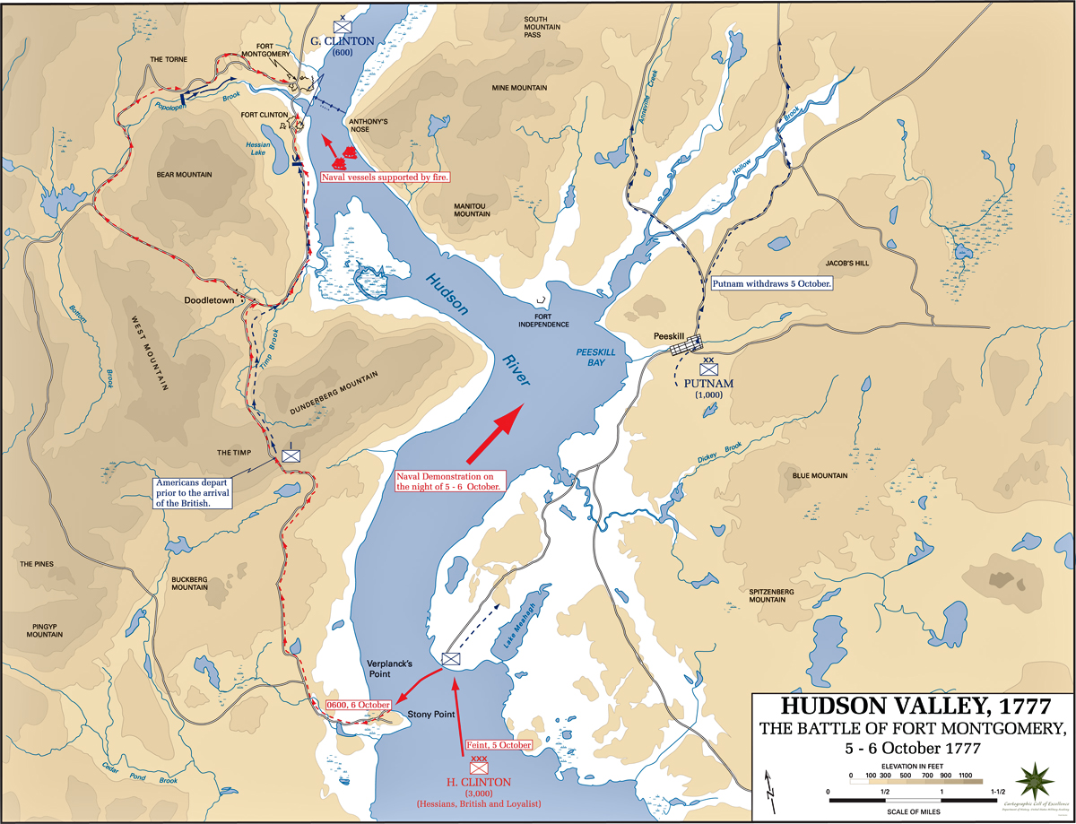 Map of the battles of Fort Montgomery and Fort Clinton: Prelude - October 5 and 6, 1777