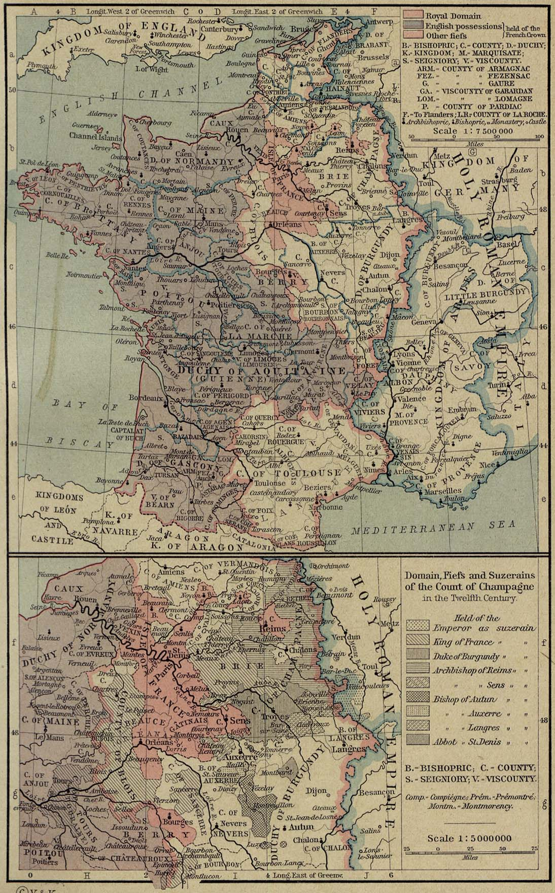 Map of France 1154-1184. Inset: Domain, Fiefs and Suzerains of the