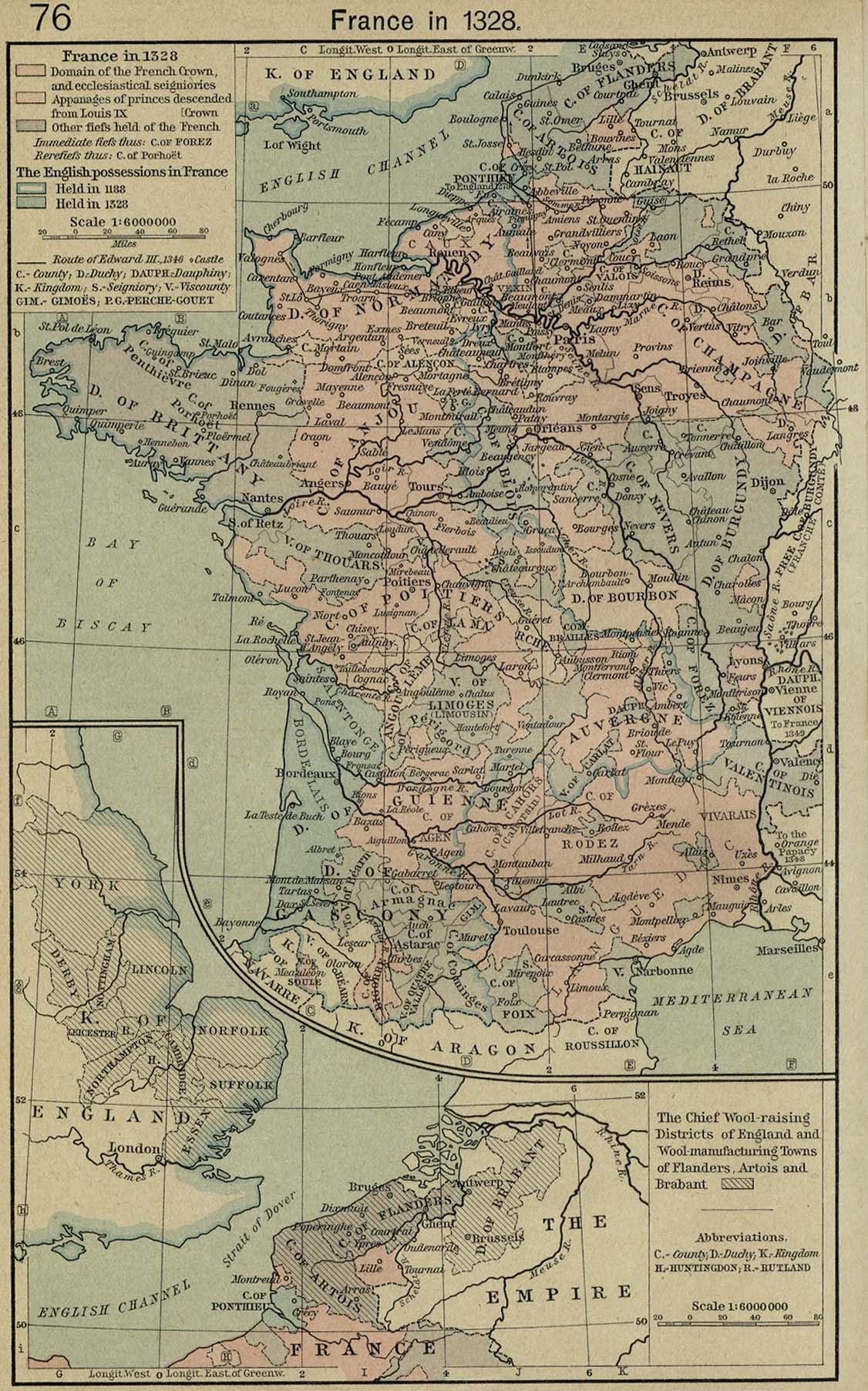 Map of France 1328