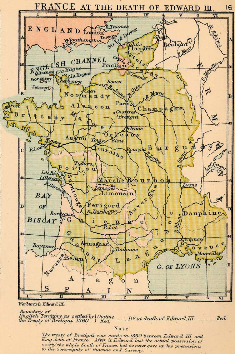Map of France at the Death of Edward III, 1377
