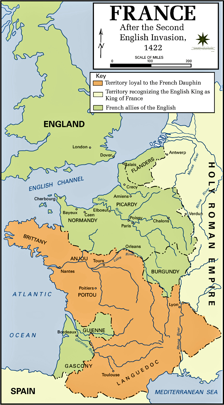 Map of France in 1422