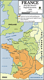 Map of France 1422