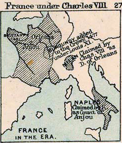 Map of France under Charles VIII, who ruled 1483-1498