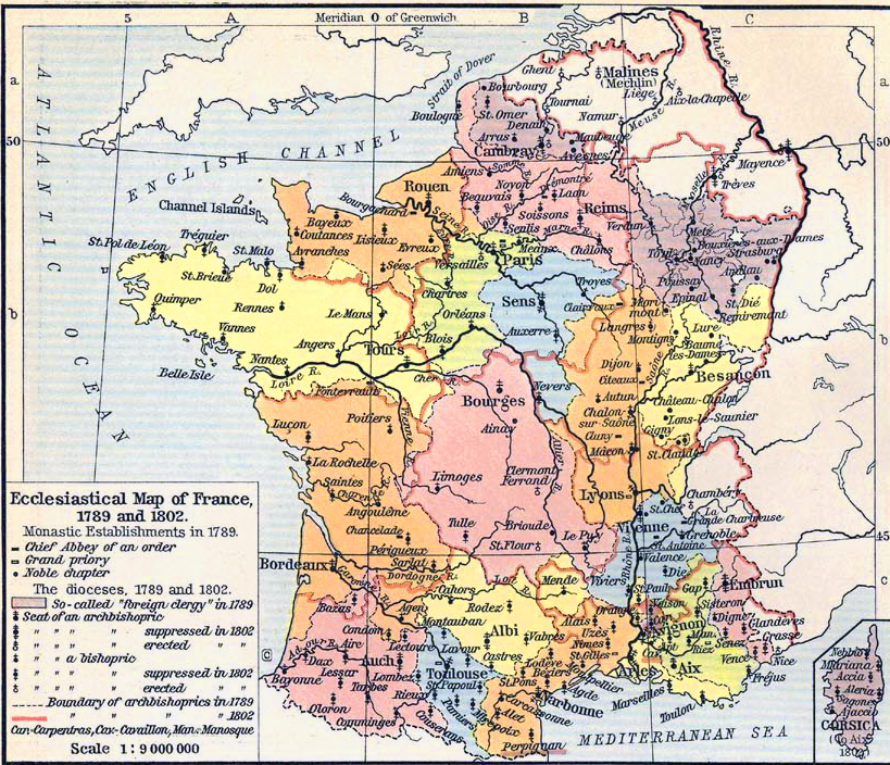 Map Of France In 1789.Ecclesiastical Map Of France 1789 And 1802