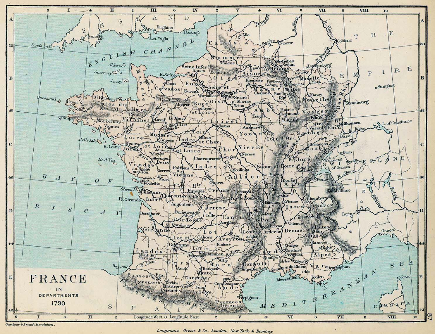 Map of France in Departments 1790