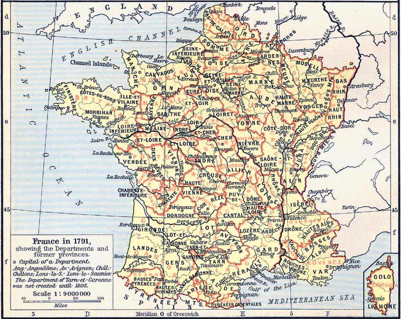 Map of France in 1791