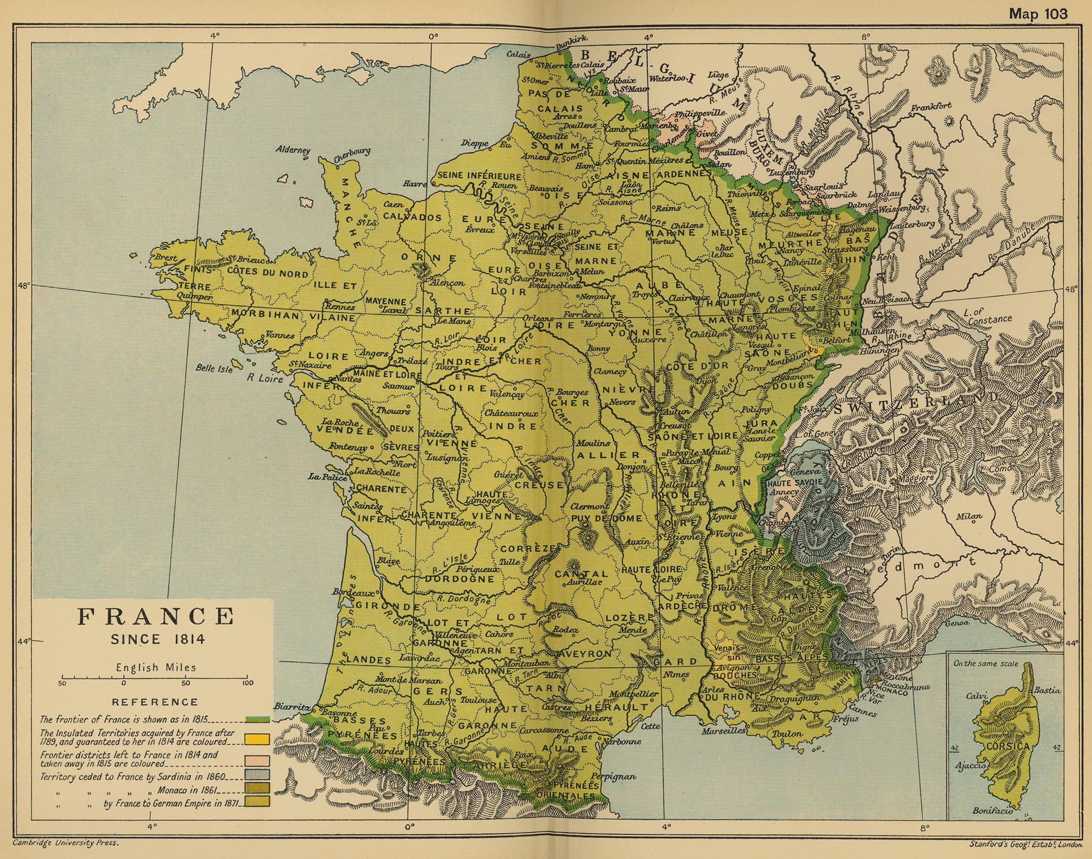 Map of France in 1814