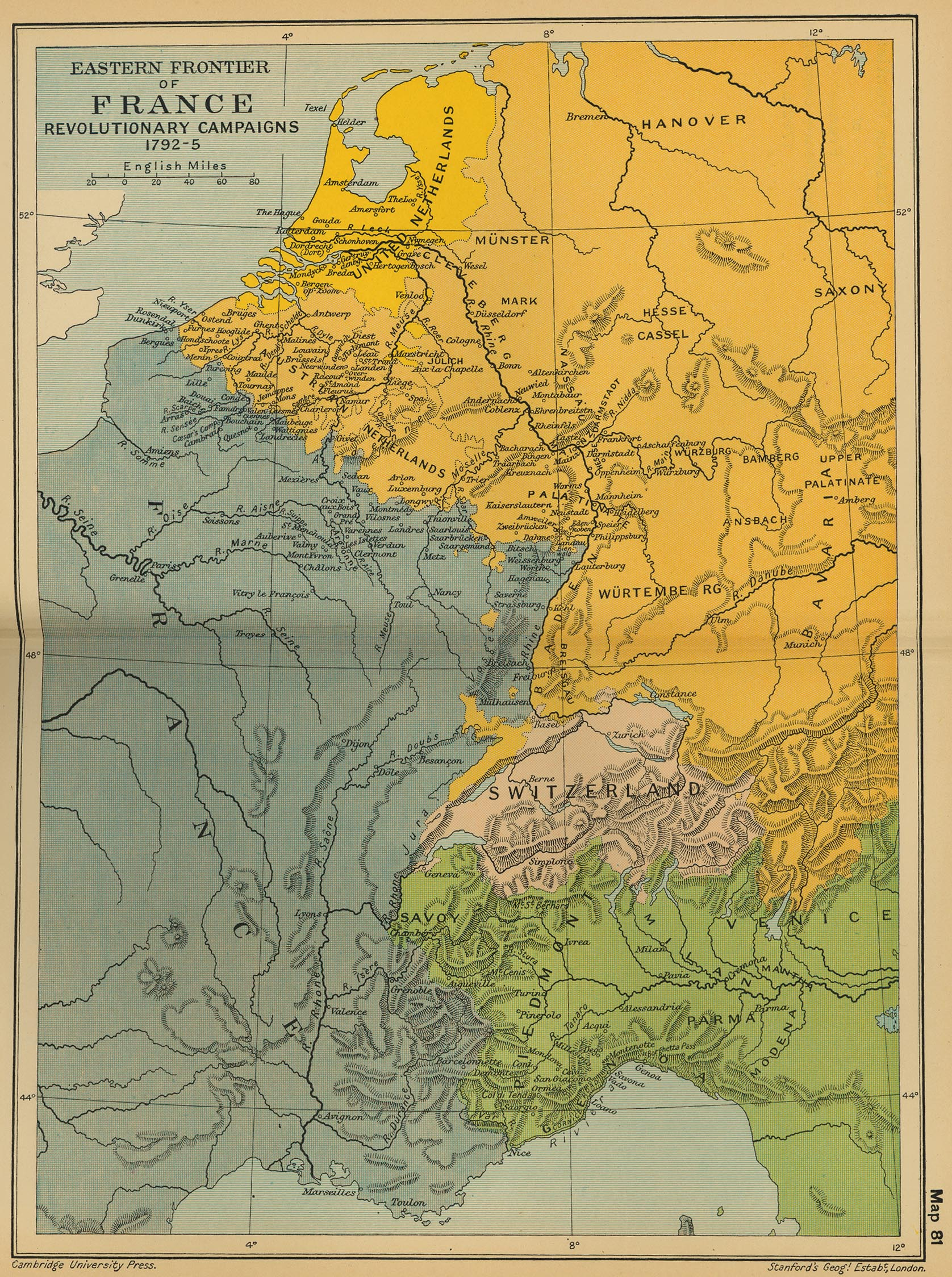 Map of Eastern France in 1792: Revolutionary Campaigns