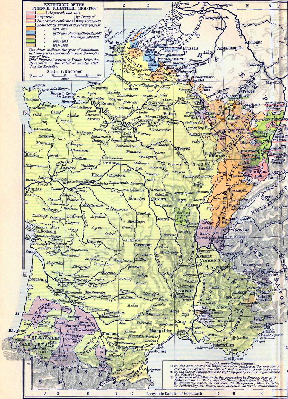 Map of the Extension of the French Frontier 1601-1766