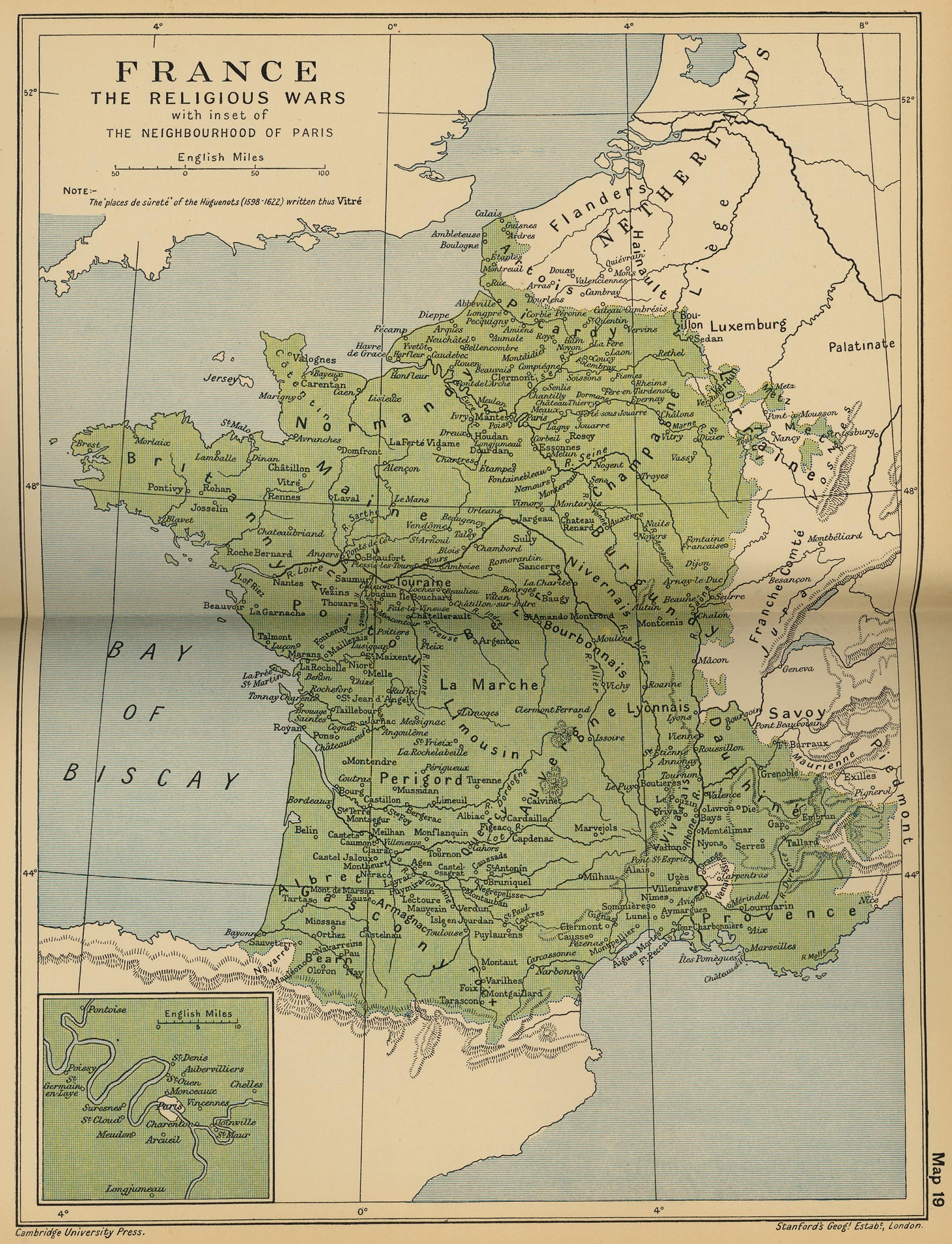 Map of France: The Religious Wars 1562-1598