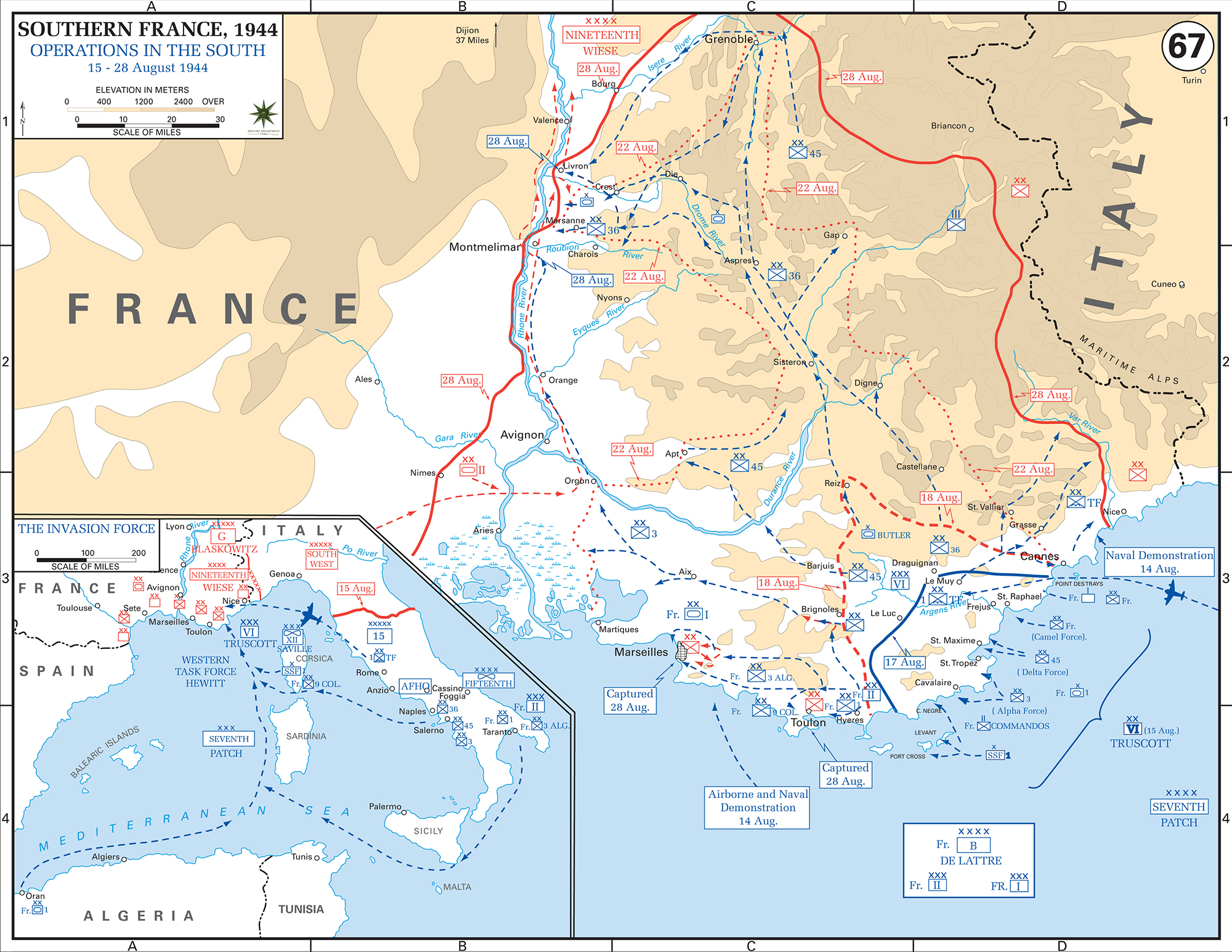 Map Of France South.Map Of Wwii Southern France August 1944