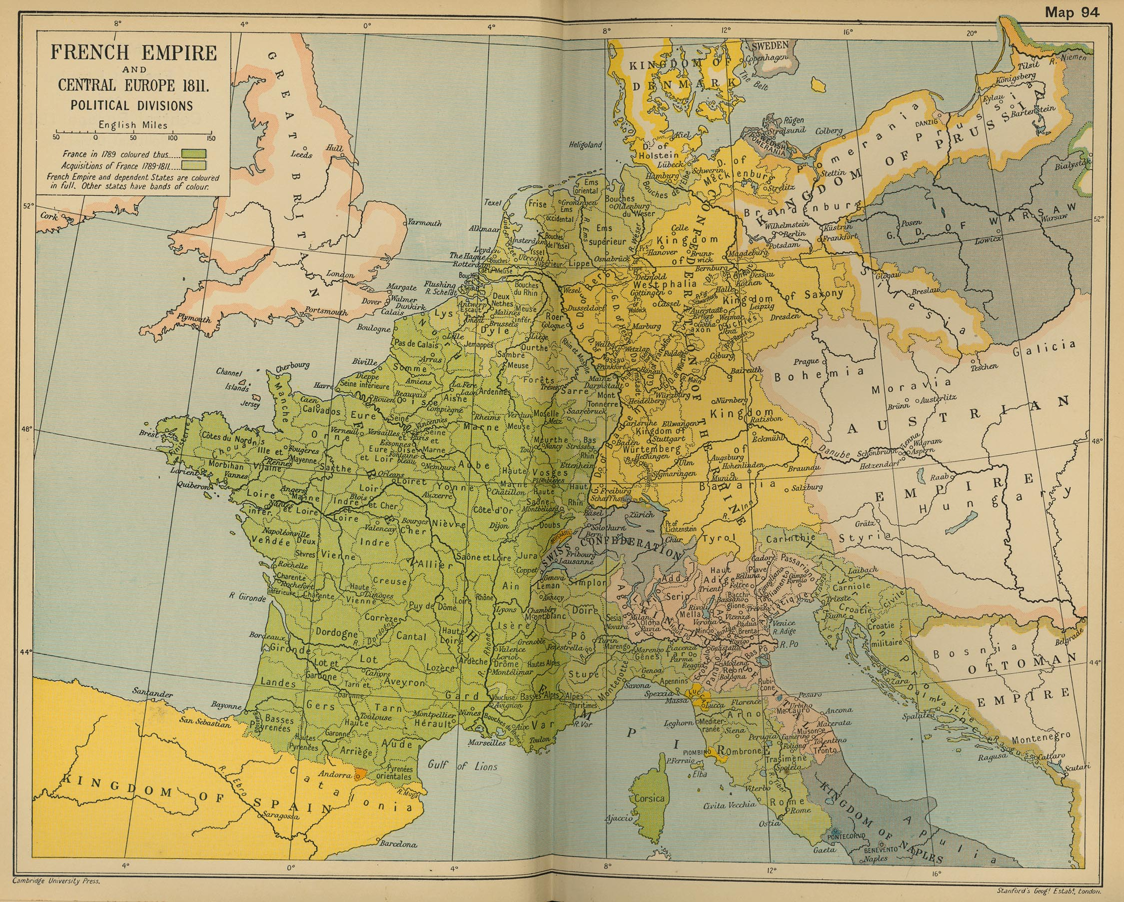 Map of Central Europe and the French Empire in 1811