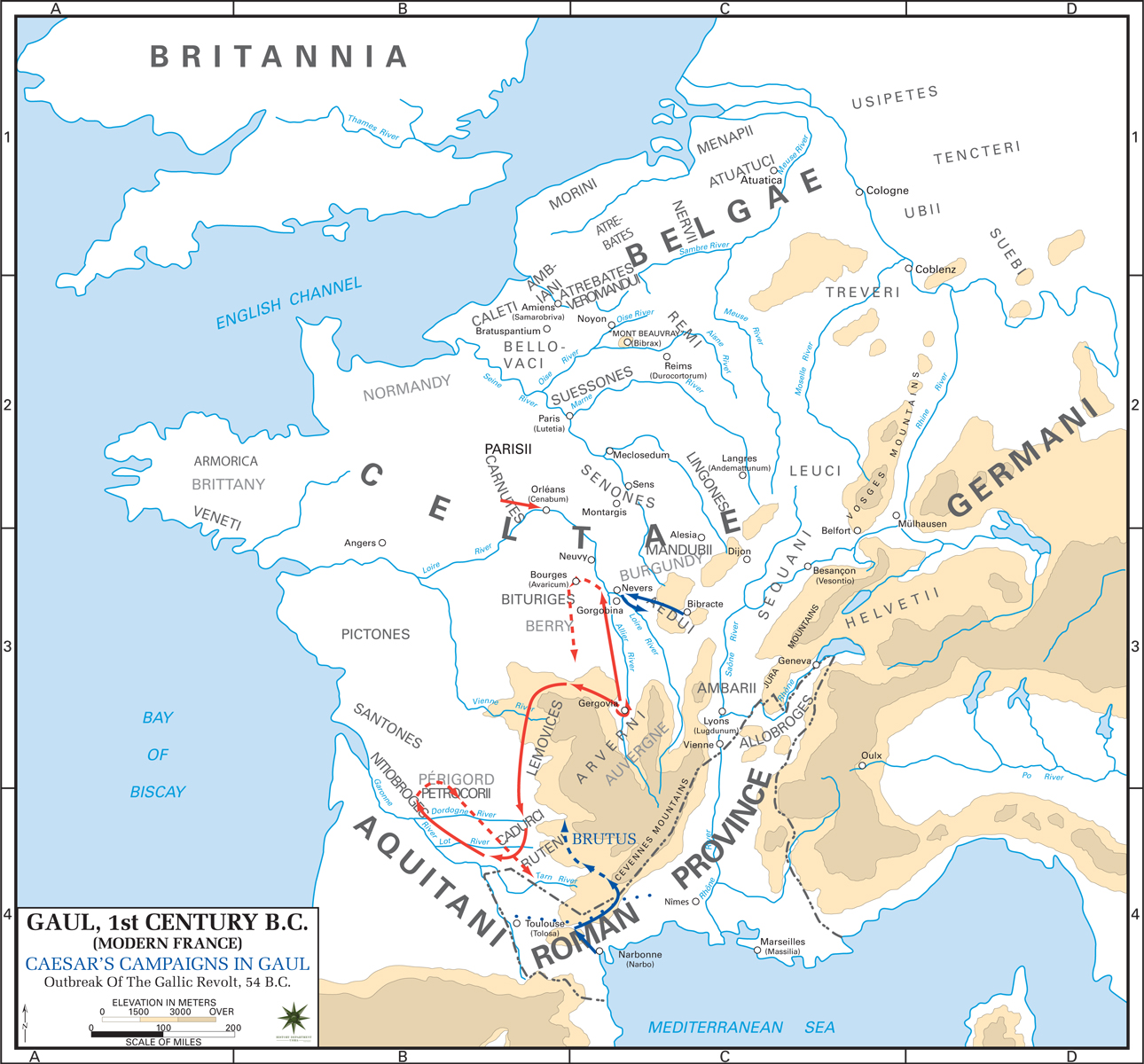 Map Of Gaul 54 Bc
