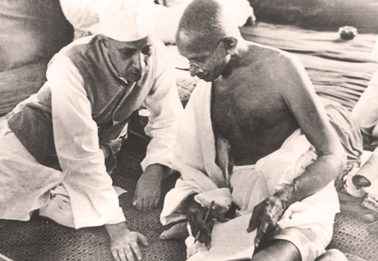 HAPPIER DAYS - JAWAHARLAL NEHRU AND MOHANDAS GANDHI IN 1942
