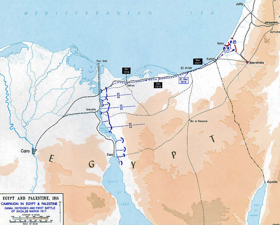 Map of the First Battle of Gaza - March 26, 1917