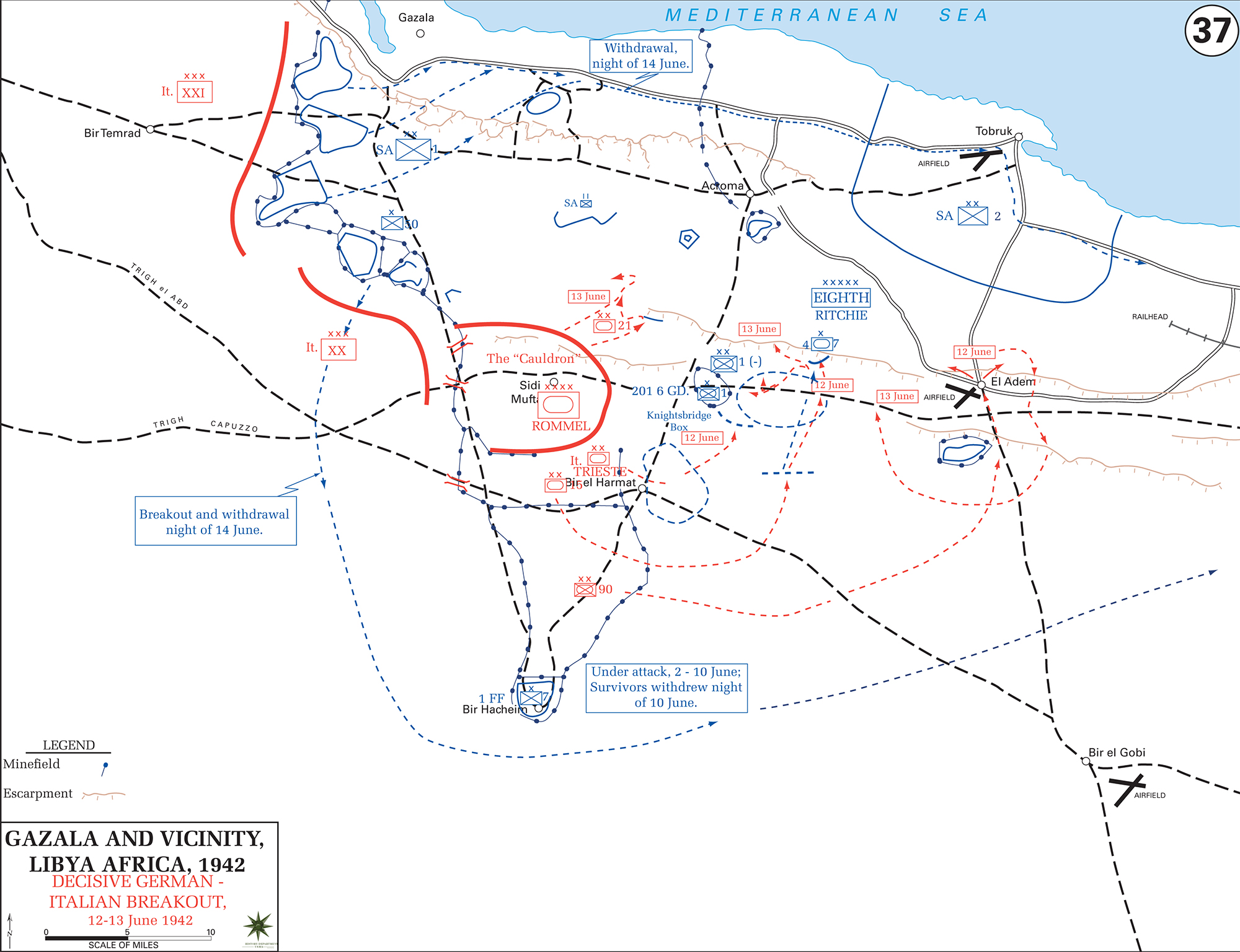 Map of WWII Gazala Libya North Africa June 1942