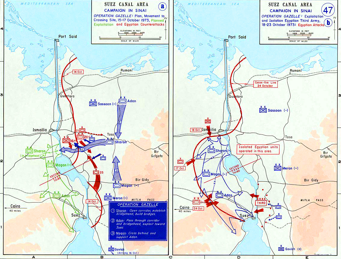 Map of the Suez Canal Area Operation Gazelle October 1973