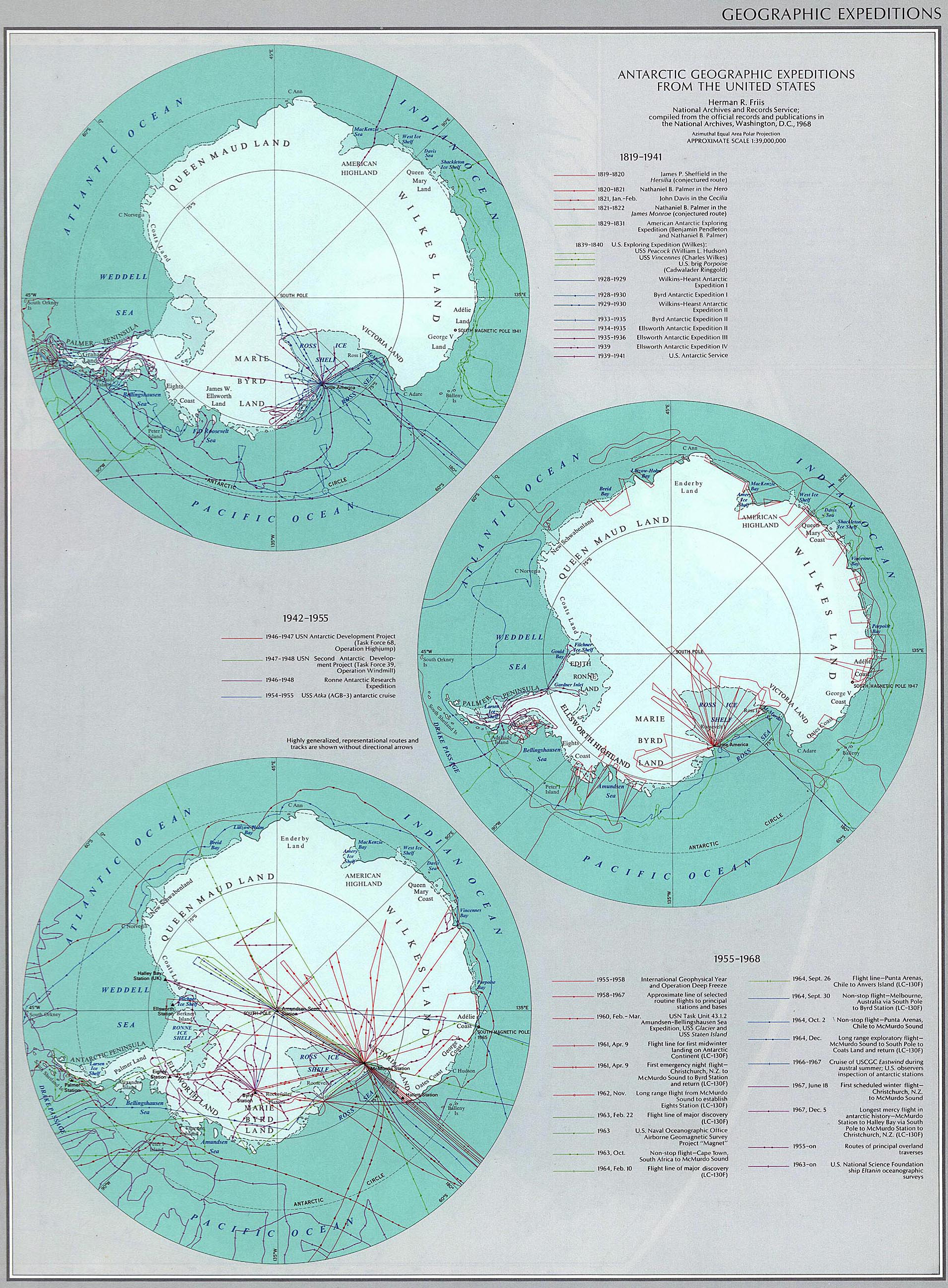 Map of Antarctic Geographic Expeditions From the United States