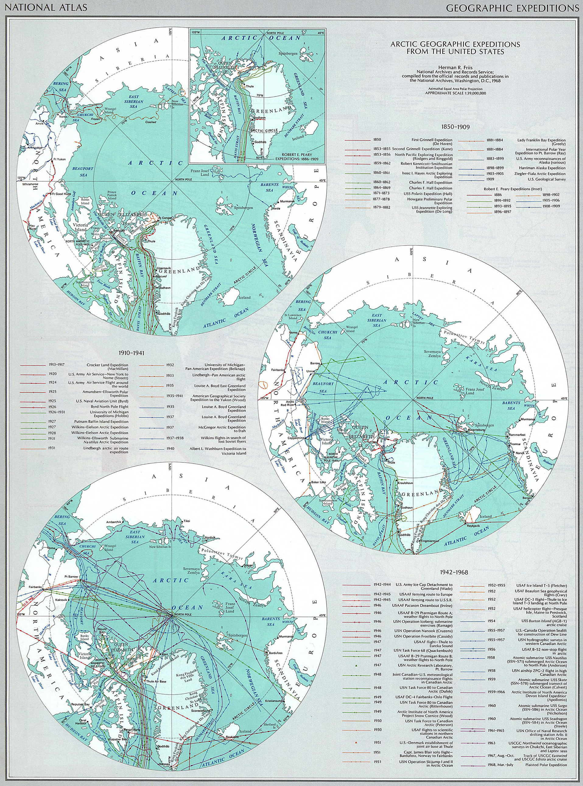 Map Of The Usa Arctic Expeditions 1850 1968 - Us-map-1869