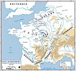 Map of Gaul in 52 BC: From Gergovia to Alesia