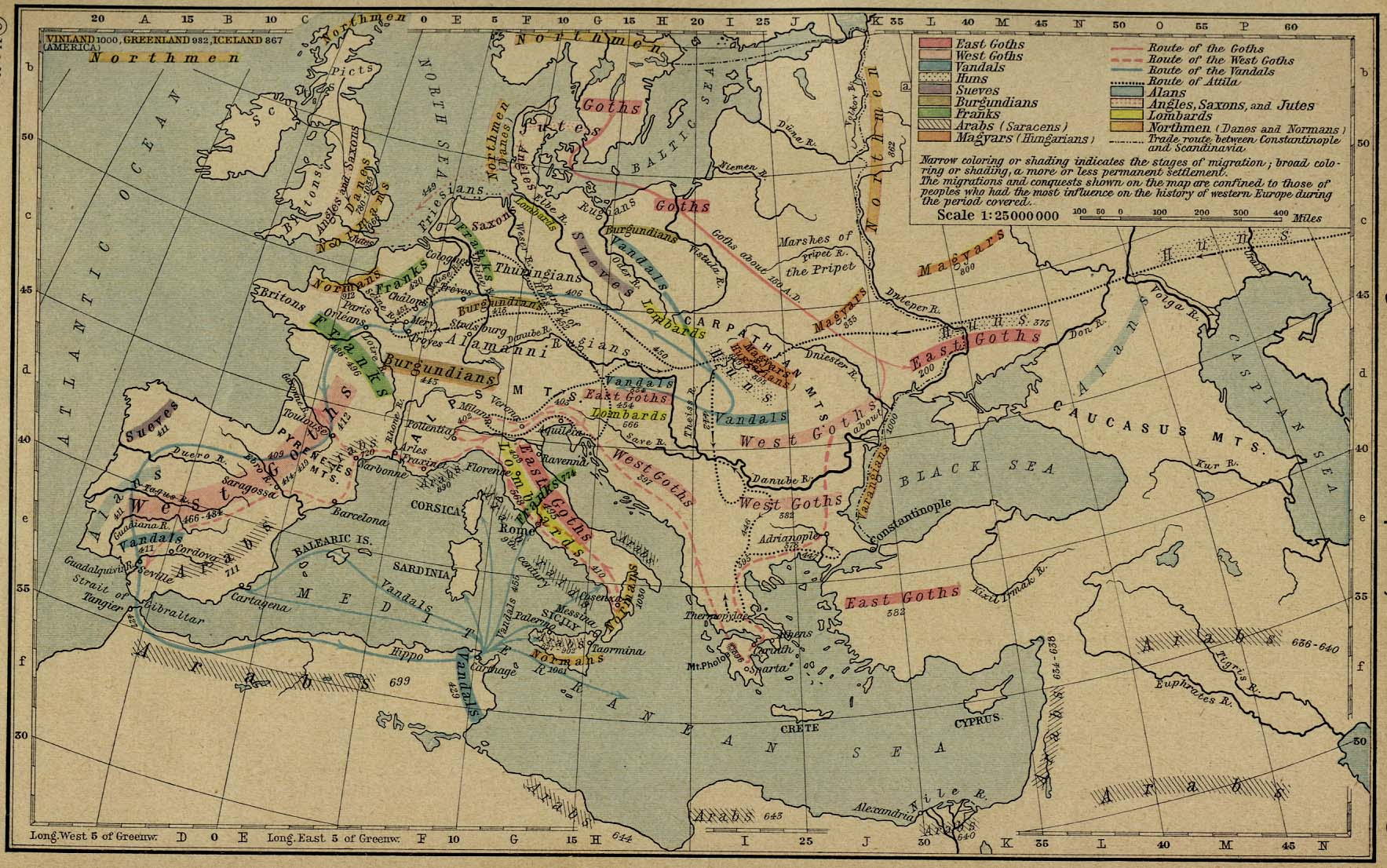 Map of the Germanic Migrations 150-1066