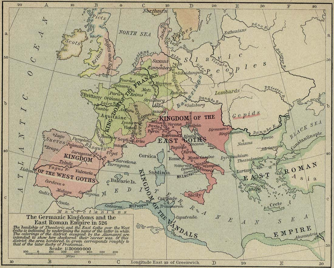 Map of the Germanic Kingdoms and the East Roman Empire in 526