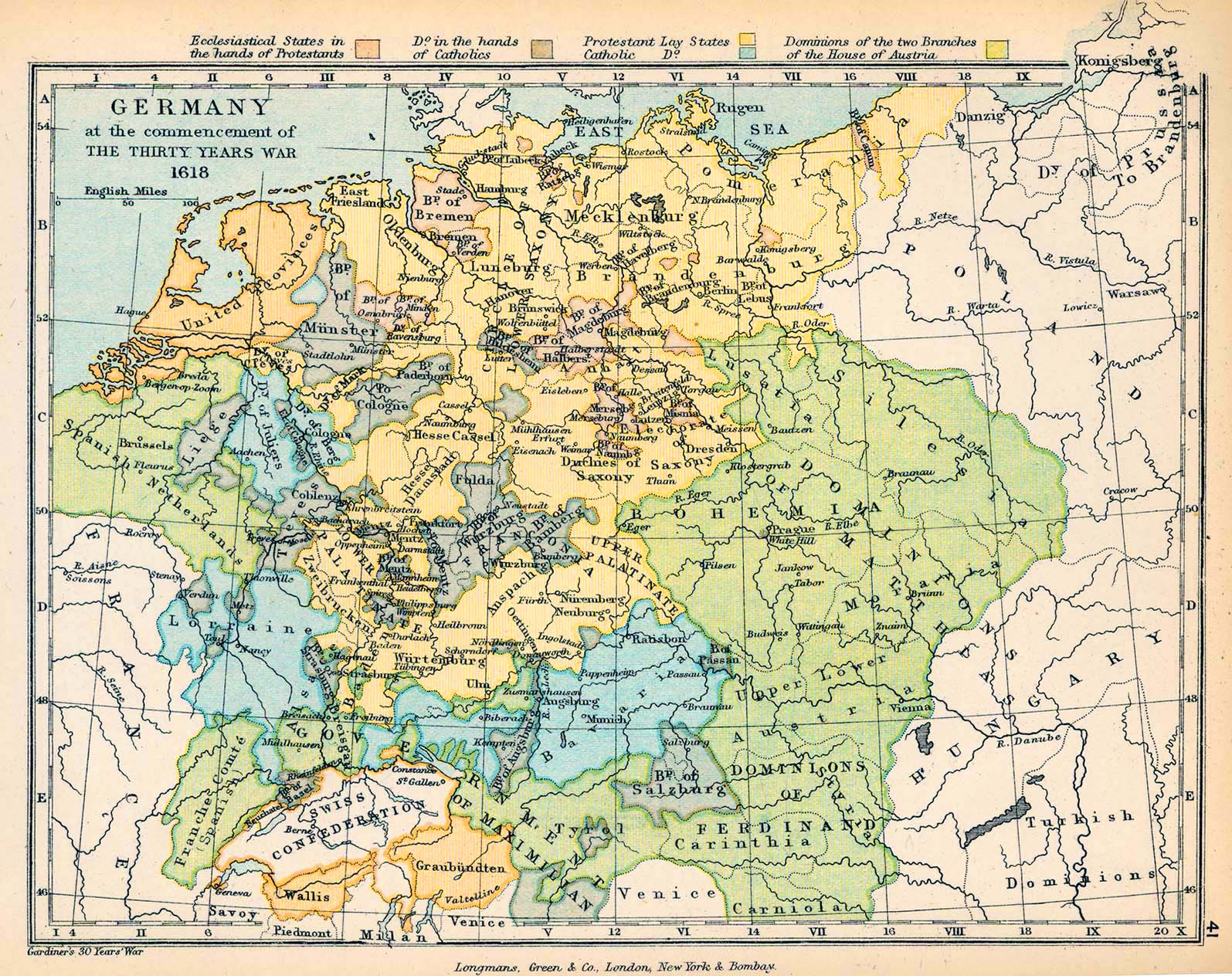 Map Of Germany - Map germany thirty years war