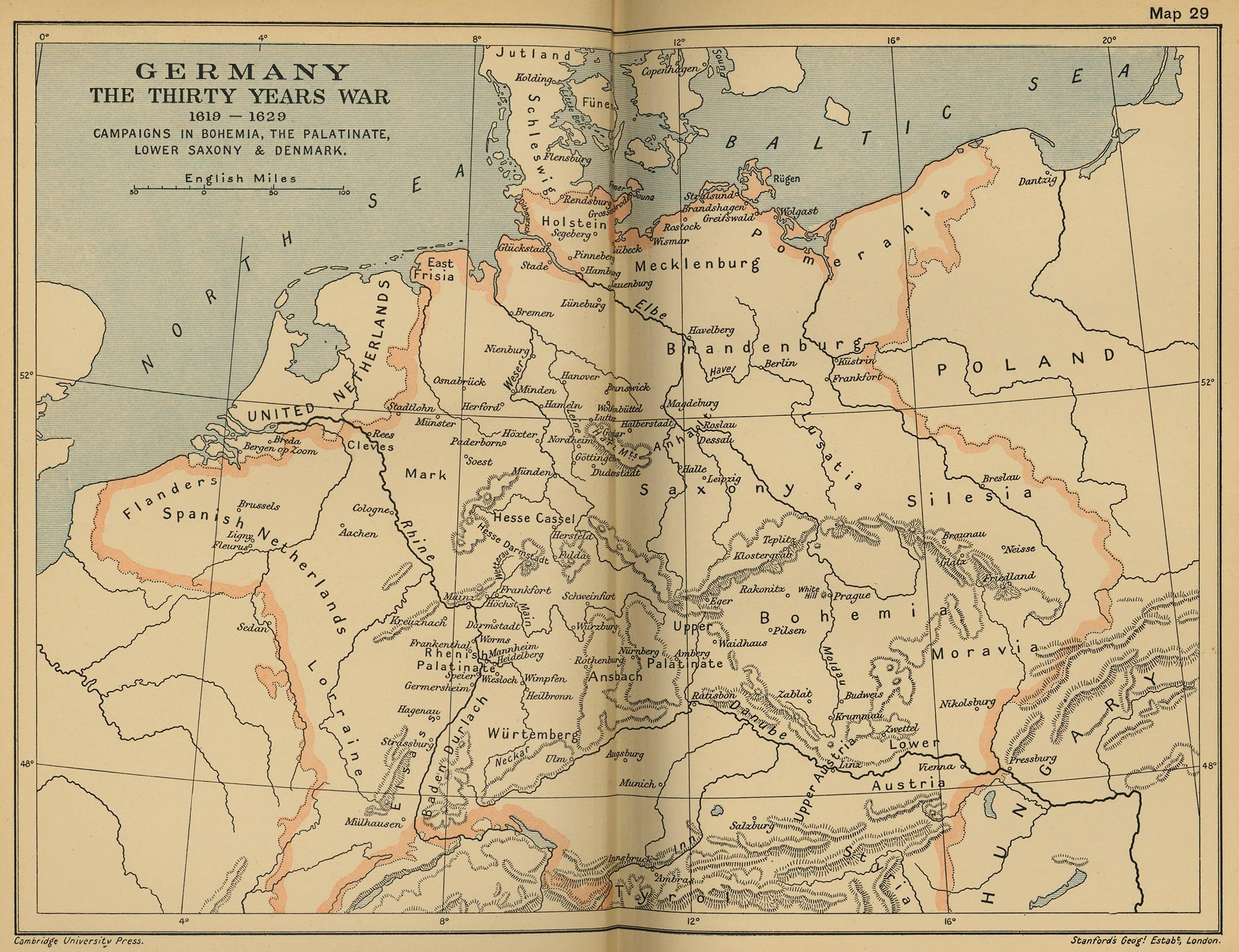 Of Germany - Map germany thirty years war