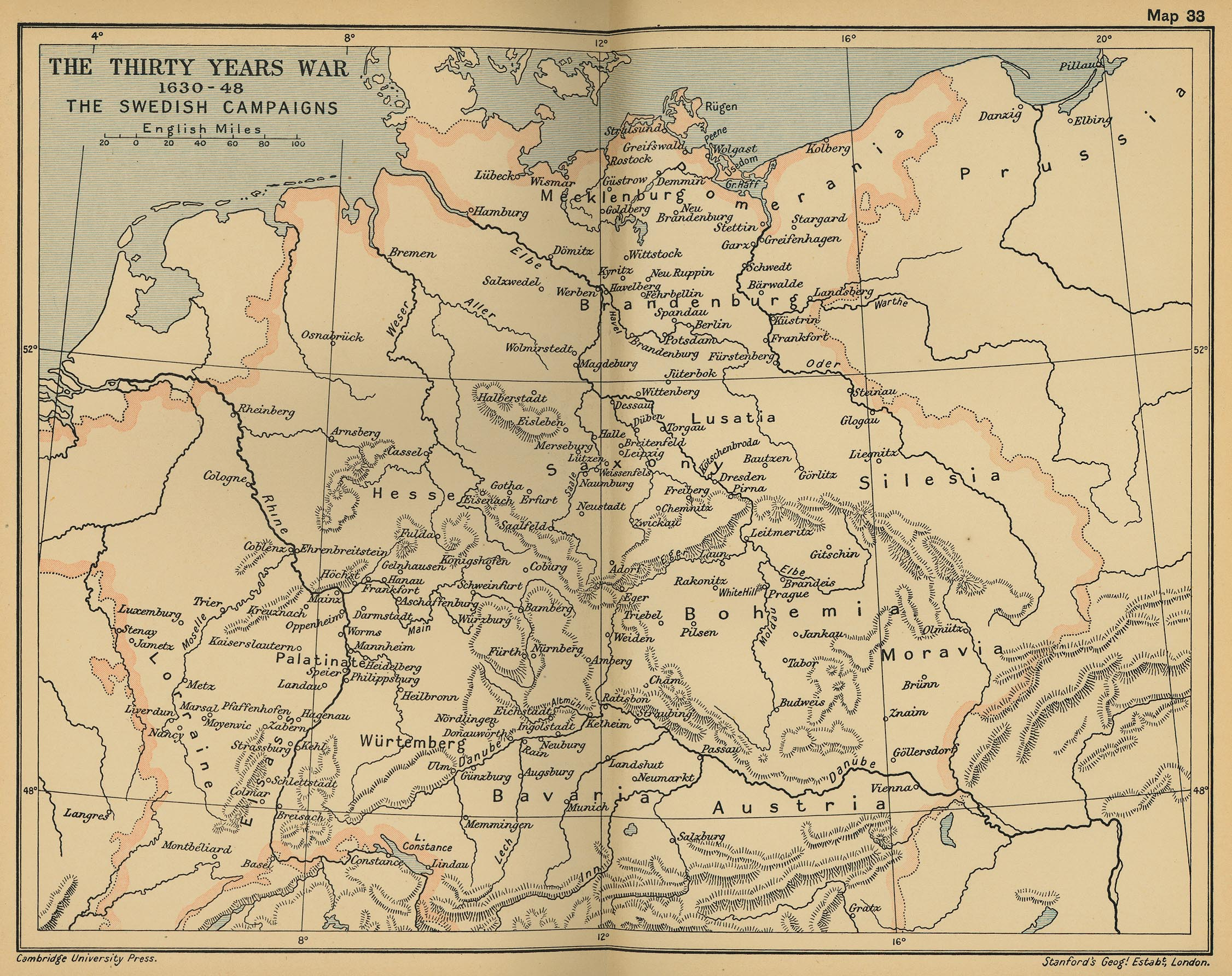 Map Of The Thirty Years War - Map germany thirty years war