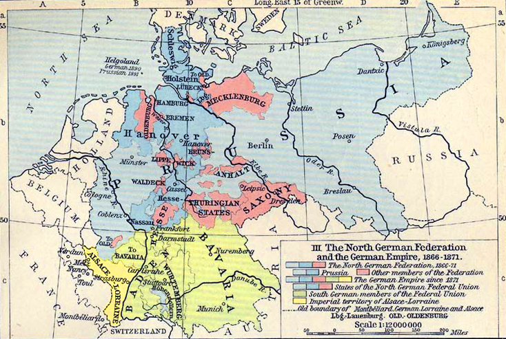 Map of the German Empire 1866-1871