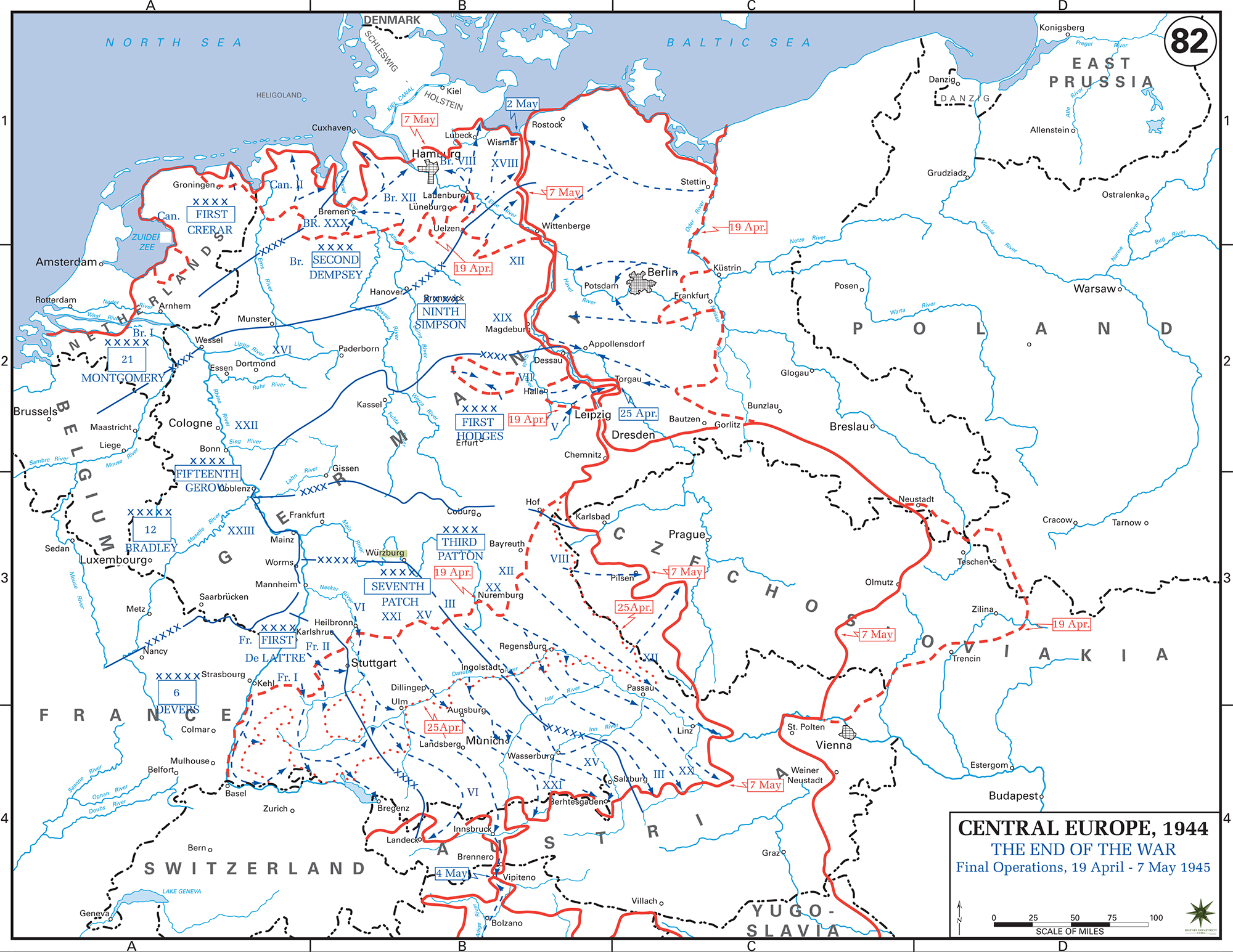 Map of wwii germany may 1945 map of world war ii germany final operations april 19 may 7 gumiabroncs Images