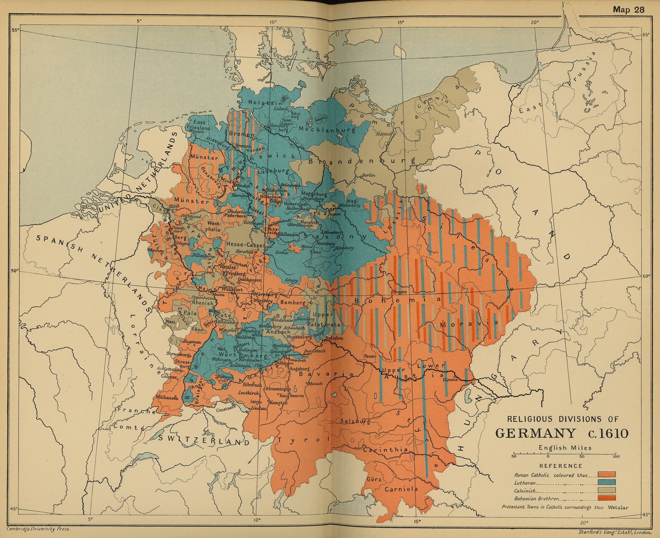 Map Of Germany 1610 Religion