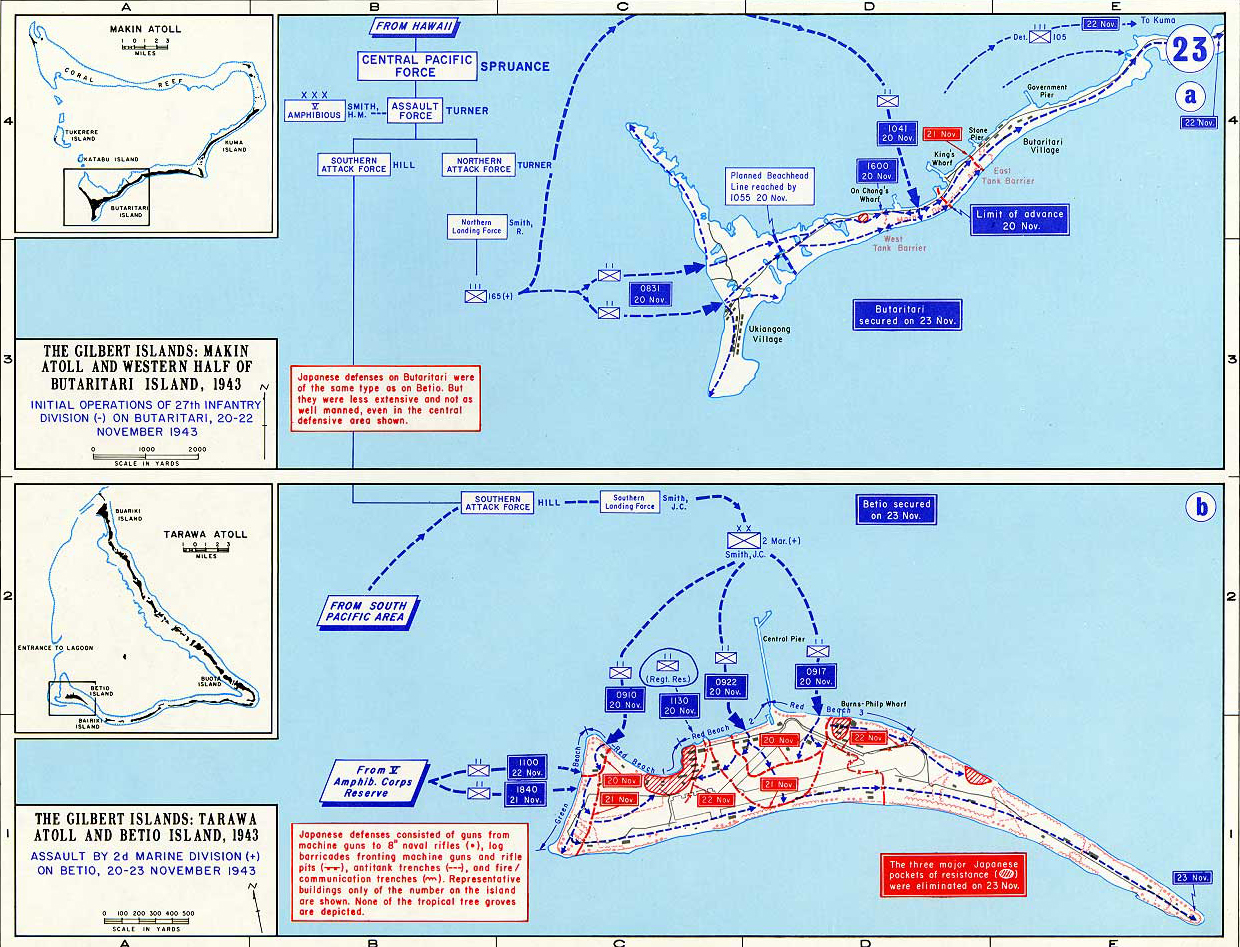 Map Of WWII Gilbert Islands - tarawa atoll map
