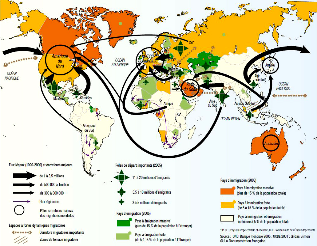 World Map 2005 - Global Migration / Immigration / Emigration