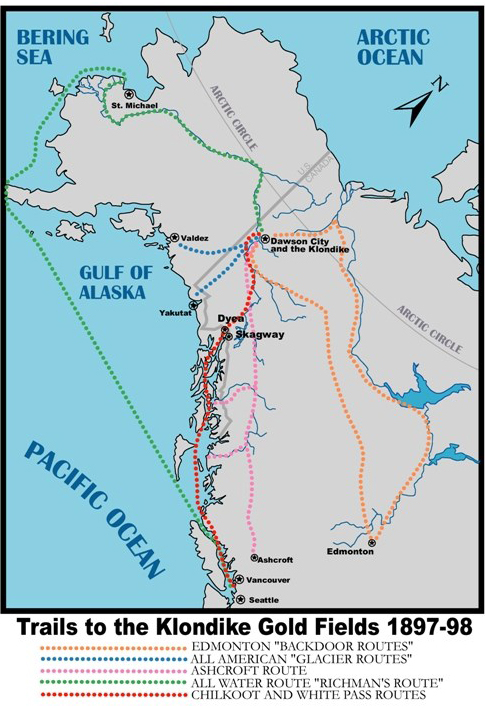 Map Klondike Yukon Gold Rush