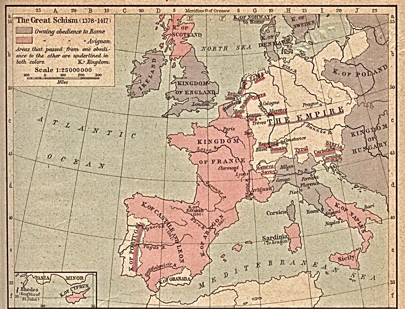 Map of the Great Schism 1378-1417
