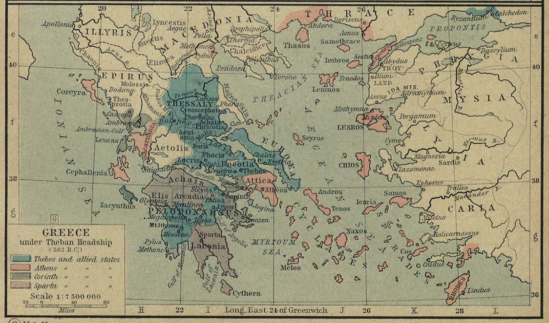 Map of Greece 362 BC Thebes Map on