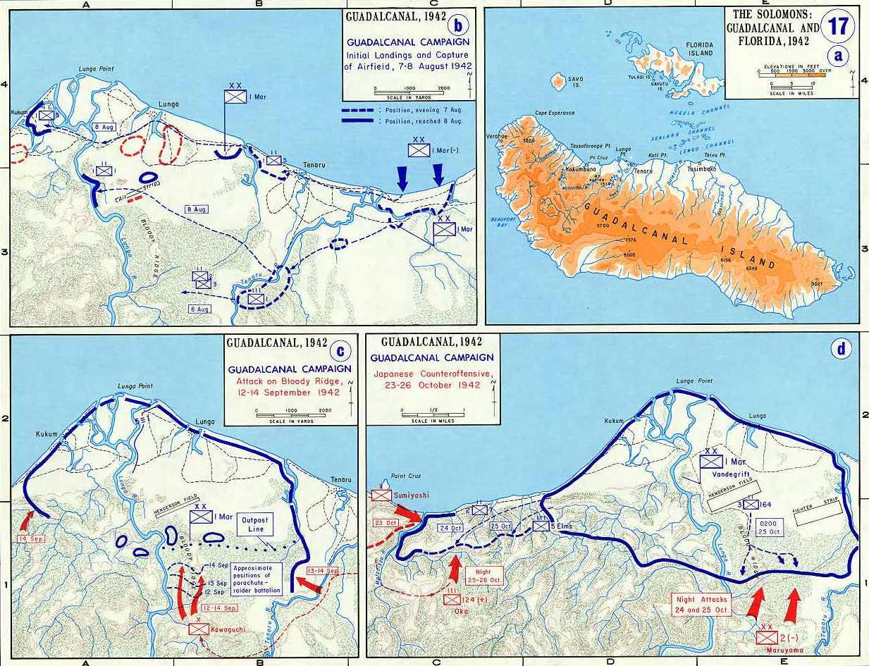 Map of World War II: The Far East and the Pacific. Guadalcanal Campaign, August - October 1942.