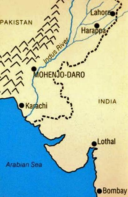 Map Location of Harappa and Mohenjo-Daro