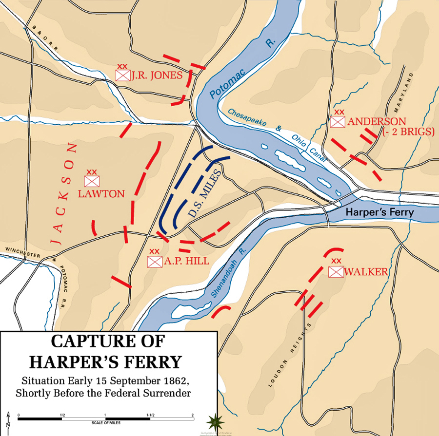 Map of the Battle of Harpers Ferry - September 15, 1862