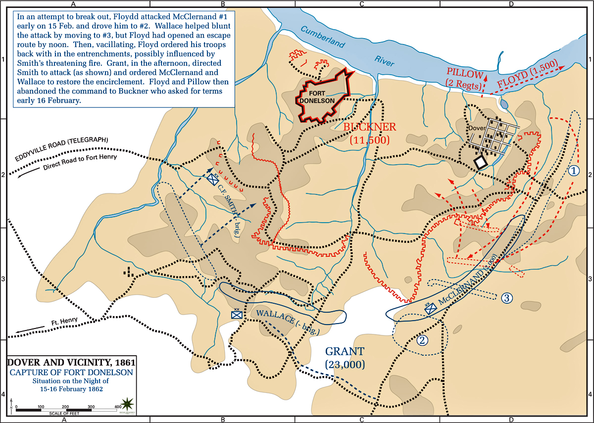 Map of the Henry and Donelson Campaign: February 15-16, 1862