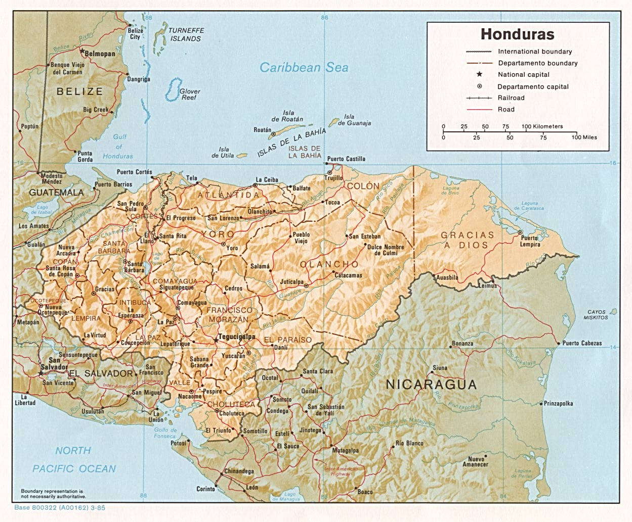 Map of Honduras 1985
