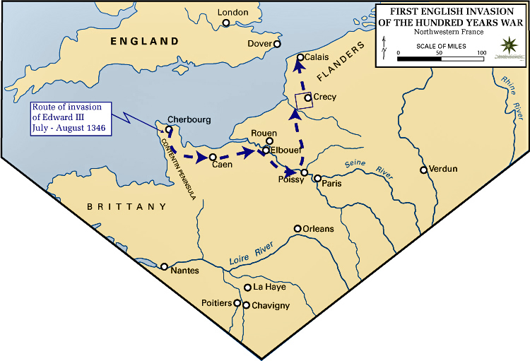 Map of Edward's Route to Crecy 1346