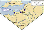 Map of Edward's Route to Crecy - France 1346