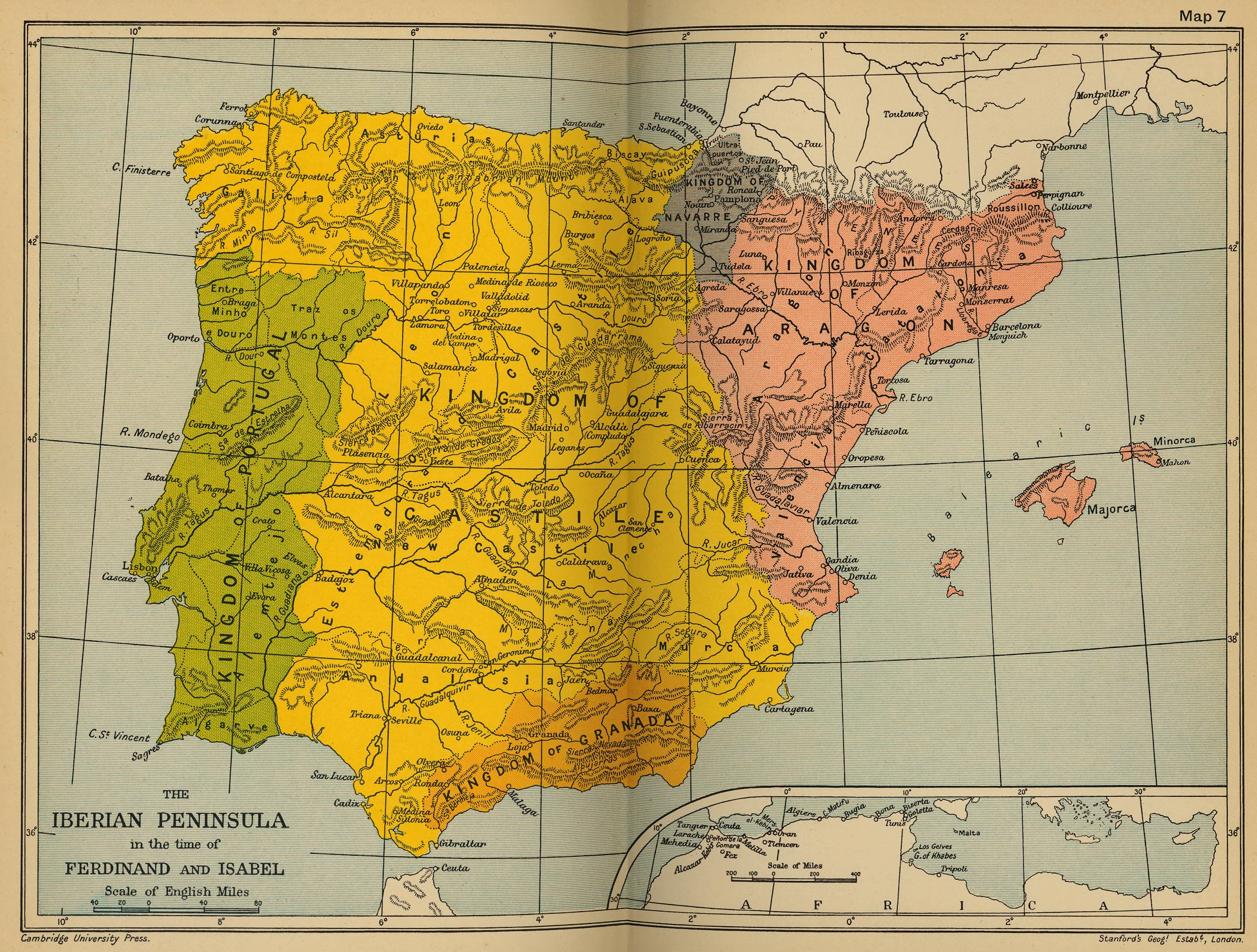 Map of the Iberian Peninsula in the time of Ferdinand and Isabel, 1479-1504