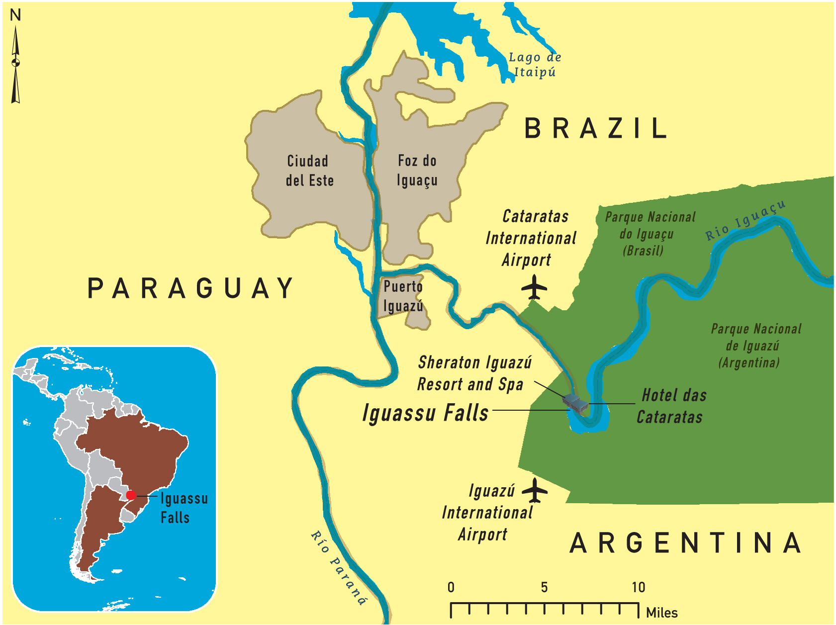 Of The Iguassu Falls - Parana river map