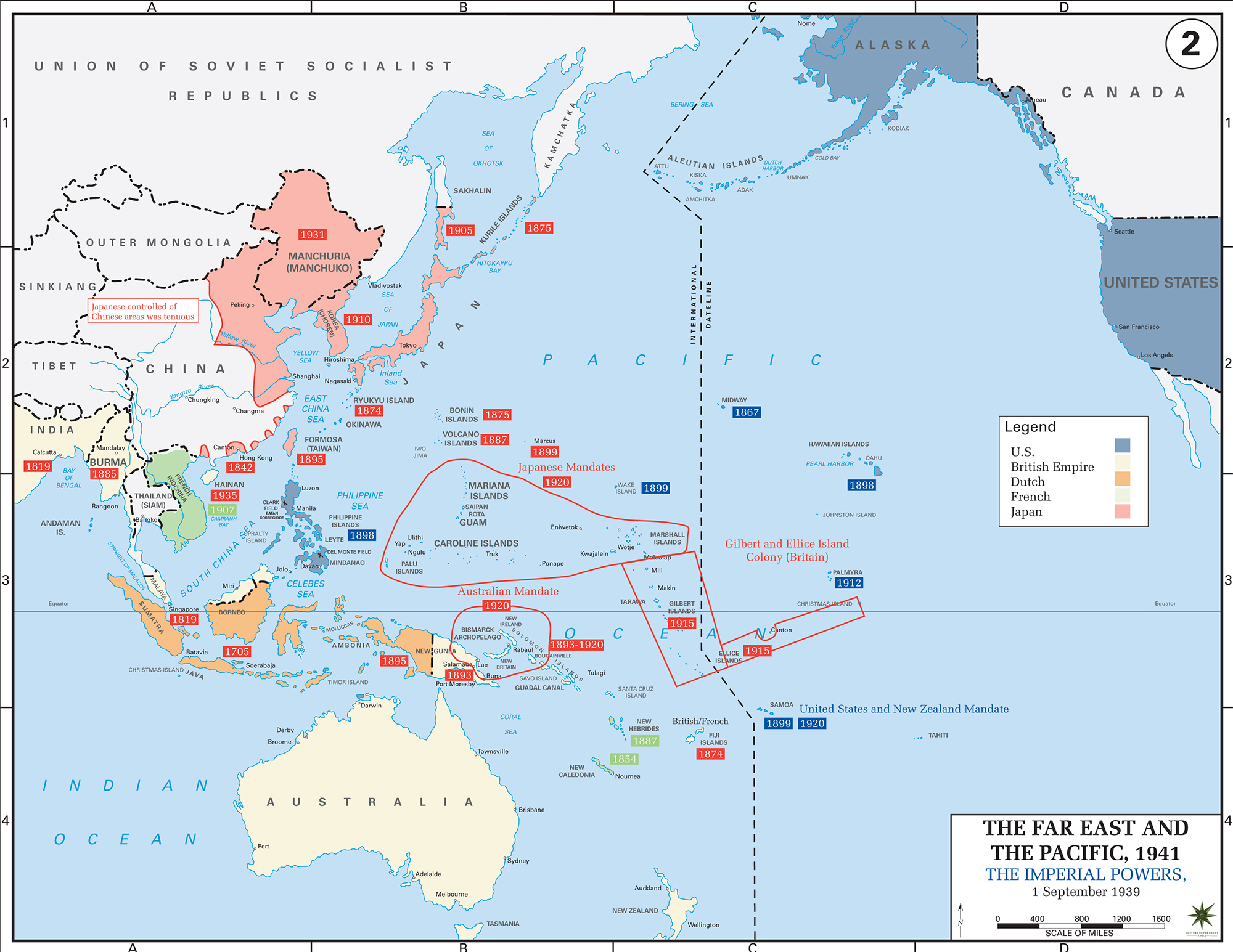 Map of WWII in the Pacific: The Imperial Powers 1939