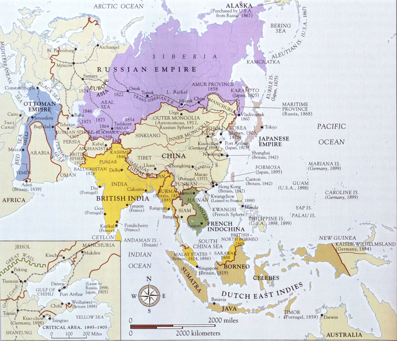 Map of Imperialism in Asia 1840-