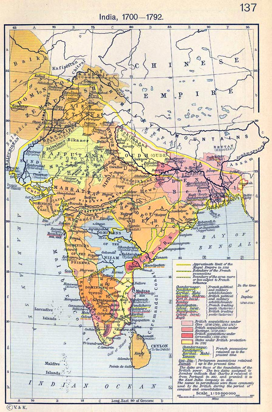 Map of india 1700 1792 gumiabroncs Choice Image